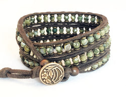 Rhyolite Gemstone Bracelet - Antique Button