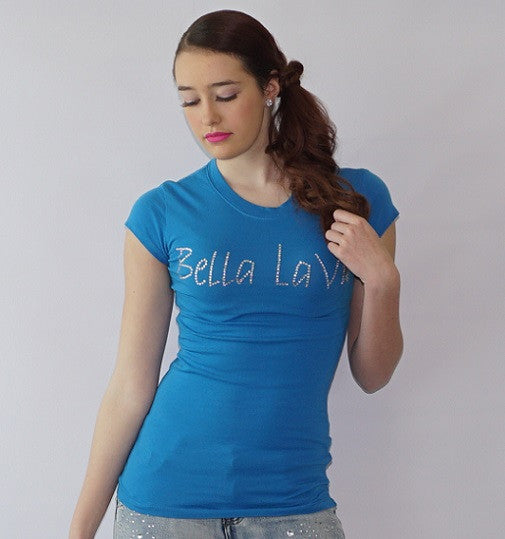 Short Sleeve Rhinestone Embedded Brand Name Tee - Bella LaVie Collection