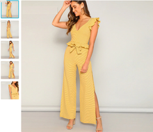 Yellow Knitted Ruffle Trim and High Split Side Wide Leg 2 Piece Pant Set - Bella LaVie Collection