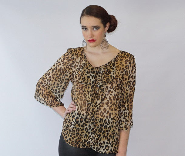 Cheetah Print Chiffon Blouse - Bella LaVie Collection