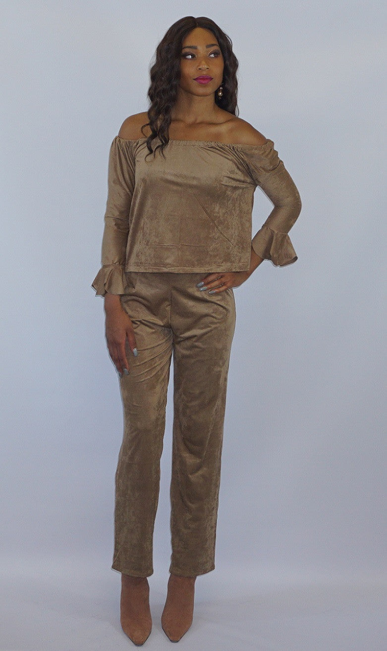 Micro Suede Off the Shoulder Blouse and Pant Set - Bella LaVie Collection