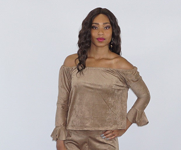 (winter/fall) Micro Suede Off the Shoulder  Blouse - Bella LaVie Collection
