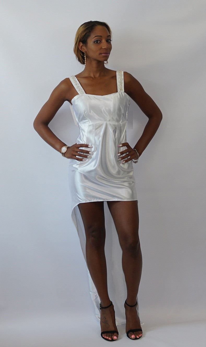 White Rhinestone Accented Vintage Tail Dress - Bella LaVie Collection