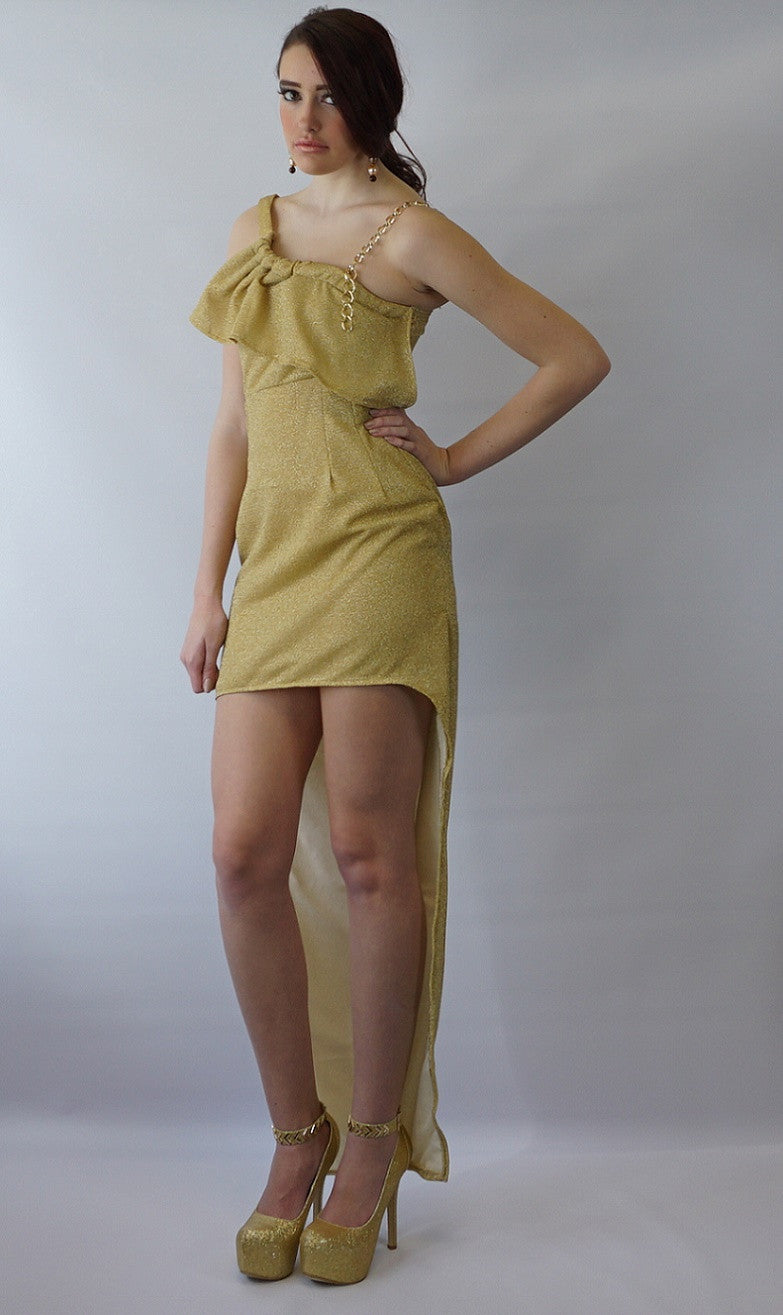 24kt Gold Tuxedo Tail Dress - Bella LaVie Collection