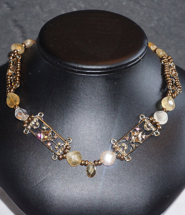 Necklace - Vintage Style Genuine Citrine Necklace - Bella LaVie Collection