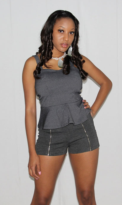 Zipper Accented  Shorts - Bella LaVie Collection