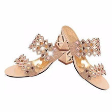 Rhombus Rhinestone Beaded Bling Hollow Out Peep Toe Square Heel Slippers - Bella LaVie Collection