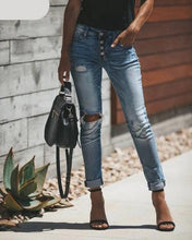 High Waist Ripped Skinny Denim Jeans