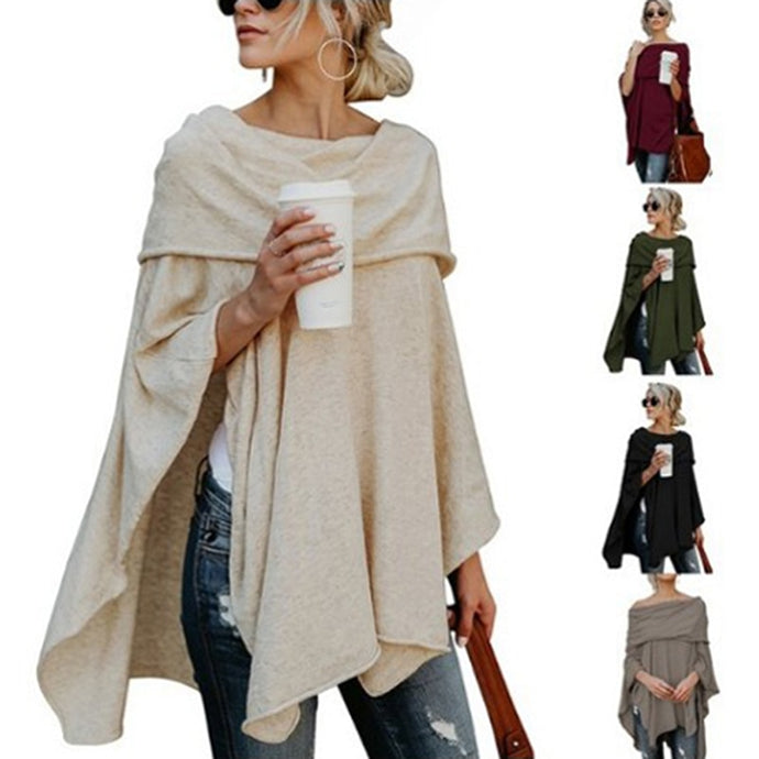 Asymmetric Poncho Pullover Sweater - Bella LaVie Collection