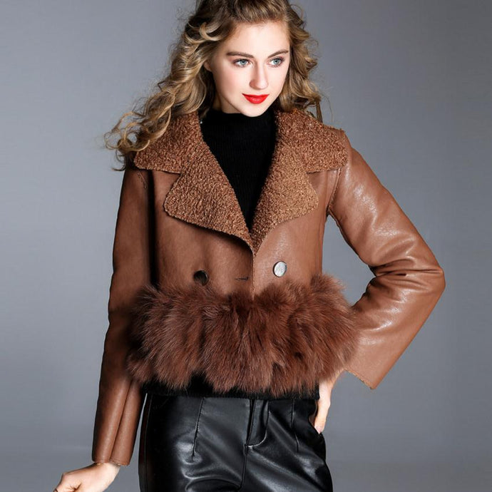 Cropped Fur Trimmed Leather Button Up Jacket - Bella LaVie Collection