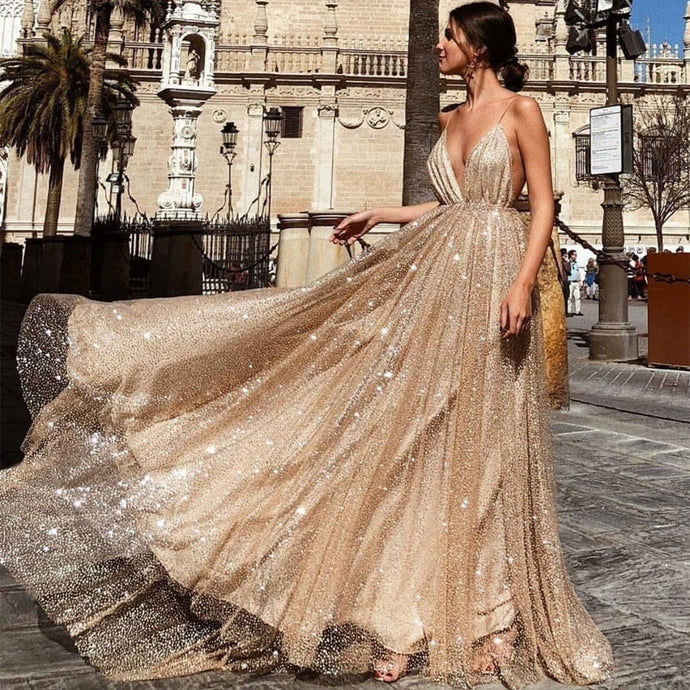 Backless Deep V Neck Style Glitter Accented Gown - Bella LaVie Collection