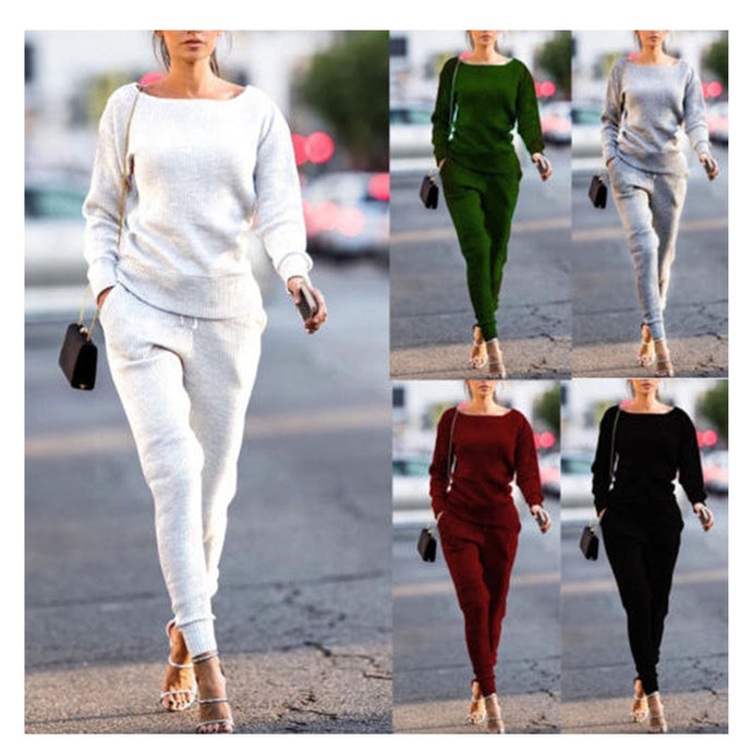 2 Piece knitt O-neck Stylish Sweat Suit - Bella LaVie Collection