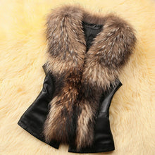PU Leather Fox Faux Fur Sleeveless Vest