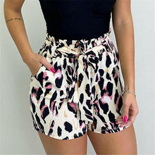 Leopard Printed Belted Shorts