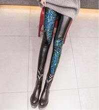 embroidered and Sequin High Waist Leggings