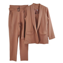 3 Pieces Buttonless Slim Blazer Cami and Pant Set - Bella LaVie Collection