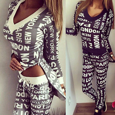 2 Piece Letter Printed Blouse and Pant Set