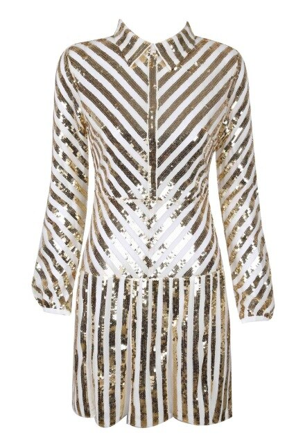 A-Line Long Sleevee Sequined Mini Dress - Bella LaVie Collection