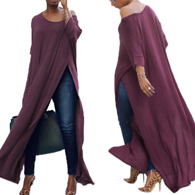 Solid Long Sleeve High Split Off Shoulder Long Kimono Top - Bella LaVie Collection