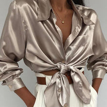 Long Sleeve Satin and Turn Down Collar Blouse - Bella LaVie Collection