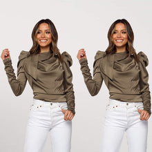 Bow Neck  and Long Puff Sleeve Blouse - Bella LaVie Collection