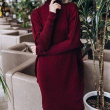 Over-sized Batwing Styled Sleeves and Turtle-neck Knitted Sweater Dress - Bella LaVie Collection