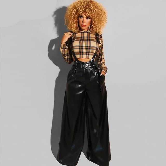 PU Leather Wide Leg Pant - Bella LaVie Collection