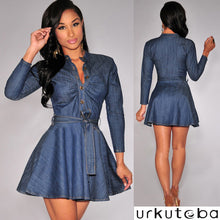 Long Sleeve Denim Look Jeans Mini Dress - Bella LaVie Collection