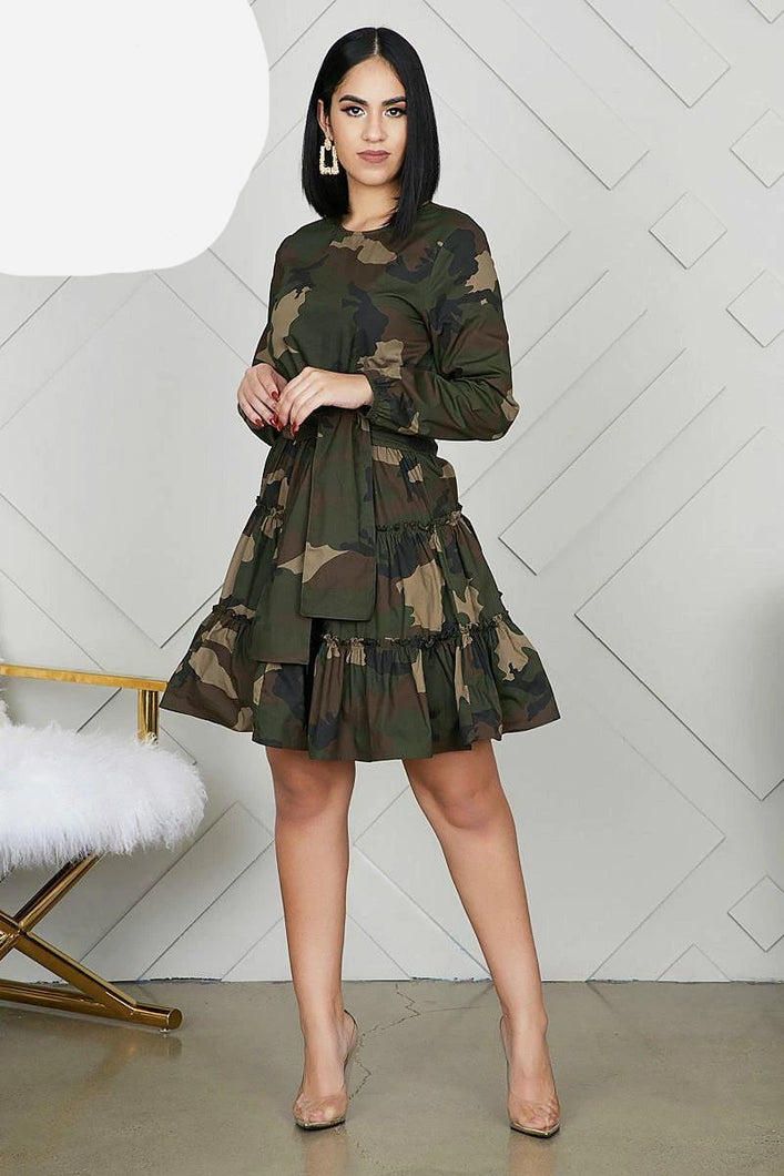 Camouflage A-Line Belted Dress - Bella LaVie Collection
