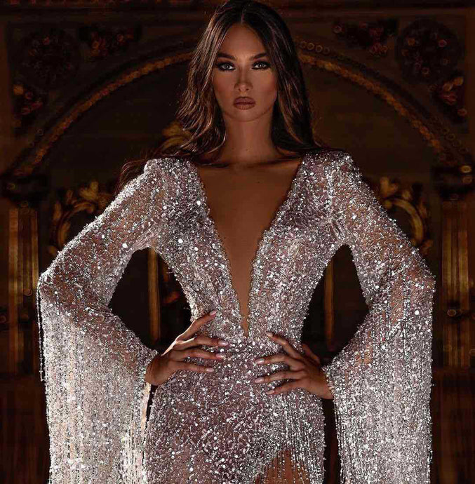 Deep V Neck Sequin and Tassels Gown - Bella LaVie Collection