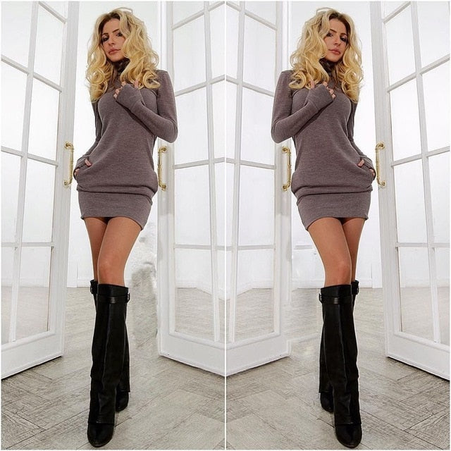 Women Long Sleeve Thumb Out Dress With Pockets - Bella LaVie Collection