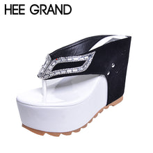 HEE GRAND Brand Women Shoes Thick Bottom Platform Flip Flops Rhinestone Wedge Heel  Patchwork Woman Summer Slippers XWZ1953 - Bella LaVie Collection