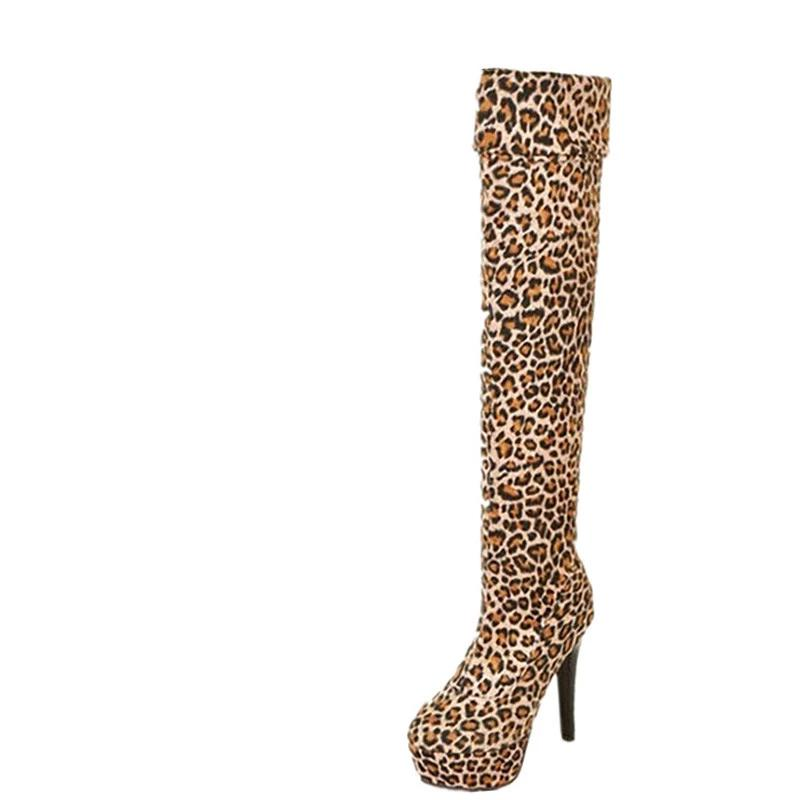 Leopard Thigh High Boots - Bella LaVie Collection