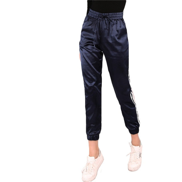 Mid Waist  Satin Drawstring Trousers - Bella LaVie Collection