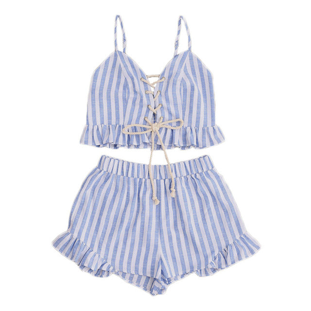 SHEIN 2017 Women Summer Two Piece Set Blue Striped Sleeveless Lace Up Smocked Crop Cami and Ruffle Shorts Co-Ord - Bella LaVie Collection