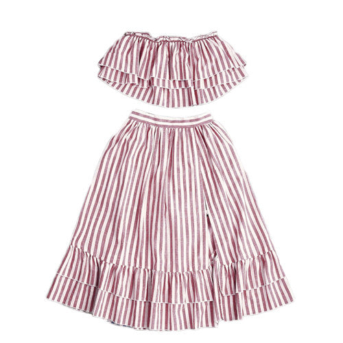 Crop Top and Skirt Set Strapless Striped Flyaway Bandeau Top and Ruffle Skort Set Summer Womens Two Piece Sets - Bella LaVie Collection