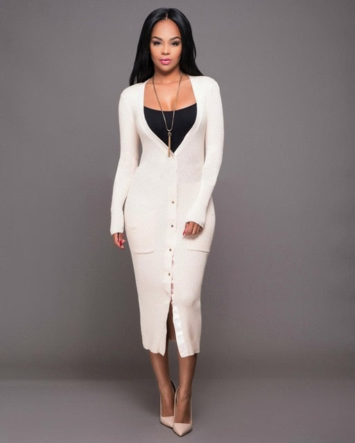 Long Maxi Style Long Sleeve Knitted  Dress - Bella LaVie Collection