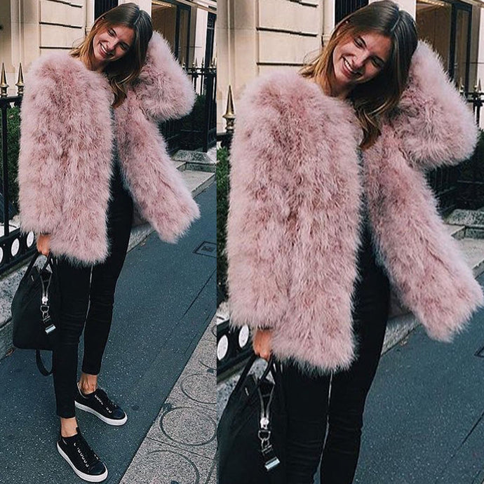 Genuine Ostrich Feather Blush Winter Jacket
