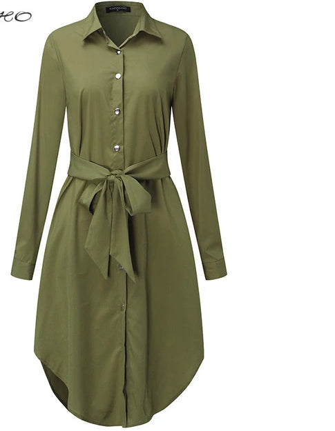 Stylish and Comfortable Belted Shirt Dress - Bella LaVie Collection