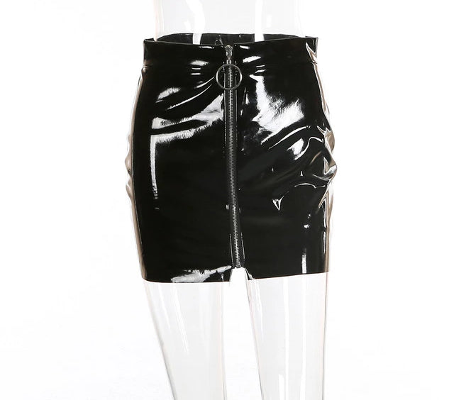 Leather Metal Open Tail Zipper Mini Skirt - Bella LaVie Collection