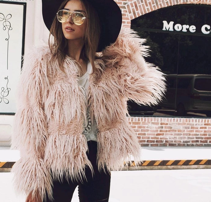 Fluffy Faux Fur Coat Women 2018 Warm Chic Female Outerwear Jacket - Bella LaVie Collection