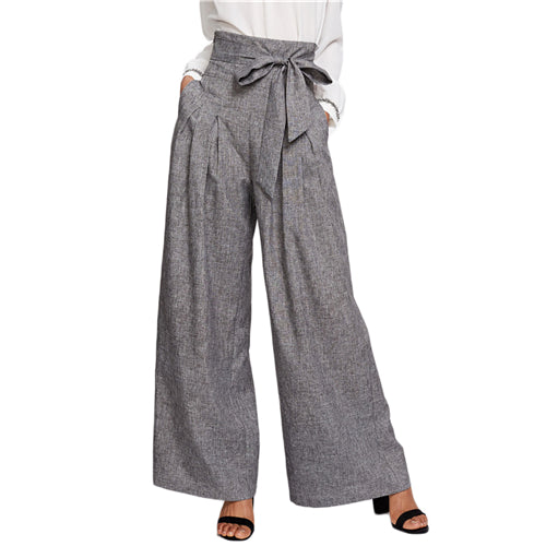 SHEIN Wide Leg Pants Women Zipper Fly Loose Trousers Women 2018 Grey High Waist Self Belted Box Pleated Palazzo Pants - Bella LaVie Collection
