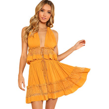 Dot Mesh Insert Crop Top & Frill Shorts Set 2018 Ginger Women Spaghetti Strap V-neck Sleeveless Plain 2 Pieces Sets - Bella LaVie Collection