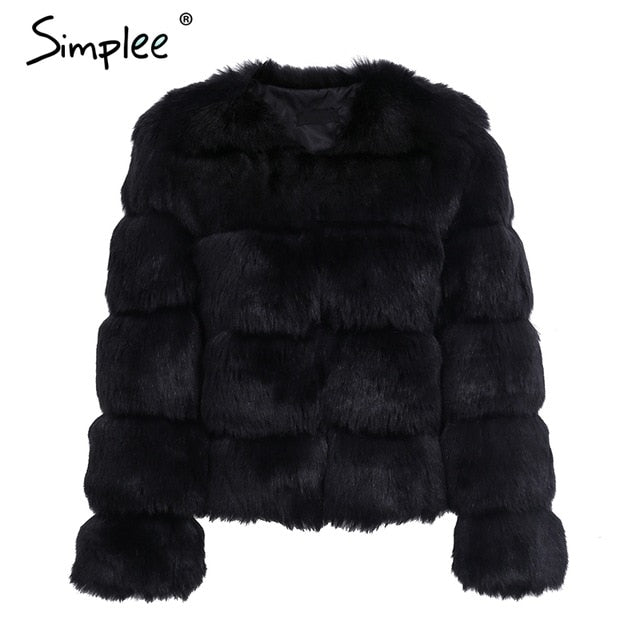 Simplee Vintage fluffy faux fur coat women Short furry fake fur winter outerwear pink coat 2017 autumn casual party overcoat - Bella LaVie Collection