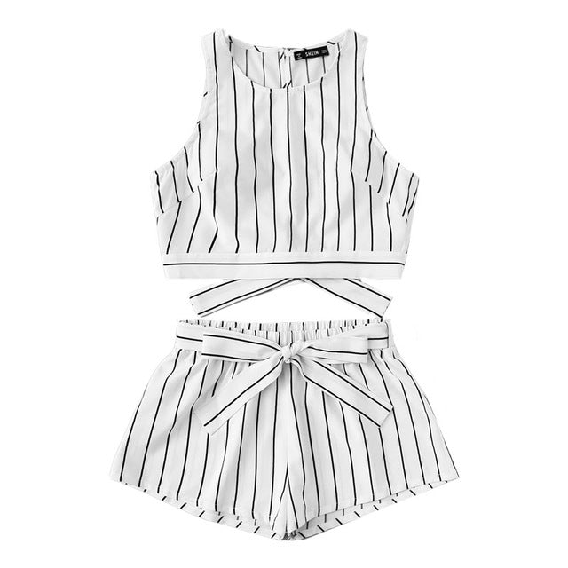 Vertical Striped Crop Top And Self Belt Shorts Set Women Round Neck Sleeveless Backless Button Women Boho 2 Piece Sets - Bella LaVie Collection
