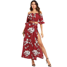 Burgundy Crop Bardot Top And High Slit Skirt Set Women Ruffle Off The Shoulder Flare Sleeve Drawstring Boho 2 Piece Sets - Bella LaVie Collection