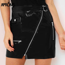 Leather Zipper Accented High Waist Mini Skirt - Bella LaVie Collection
