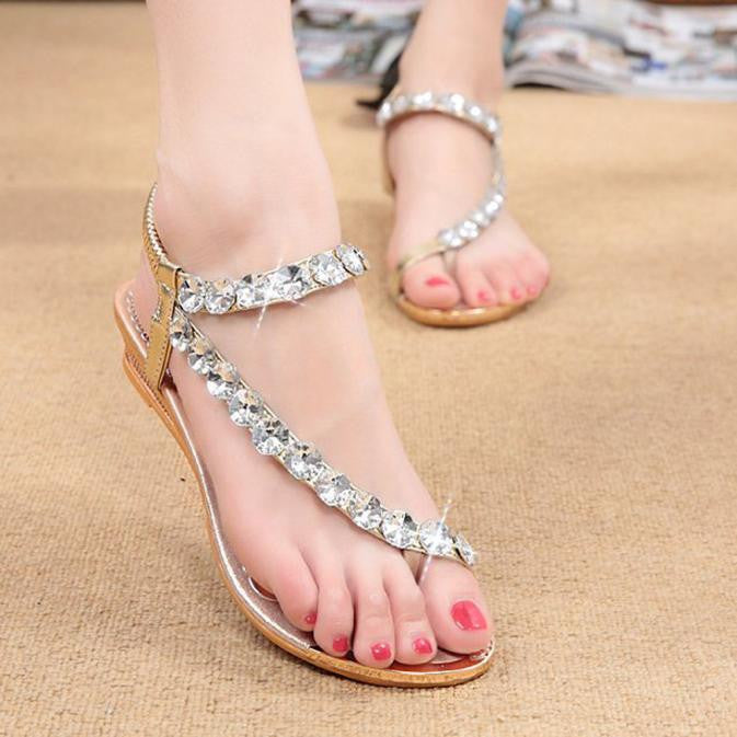 Woman Summer Sandals Rhinestone Flats Platform Wedges Shoes Flip Flops - Bella LaVie Collection