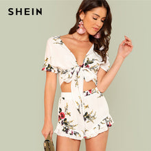 SHEIN Floral Print Knot Front Top And Ruffled Shorts Set 2018 Summer Deep V Neck Top With Shorts Women Vacation Beach Twopieces - Bella LaVie Collection