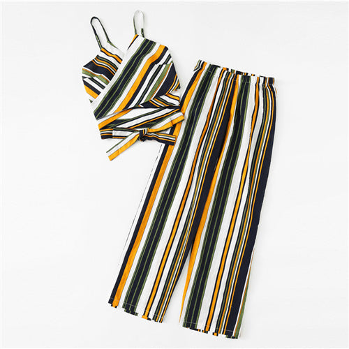 SHEIN Cut Out Striped Cami With Pants 2018 Summer Spaghetti Strap Striped Vest With Full Length Trousers Women Casual Twopiece - Bella LaVie Collection